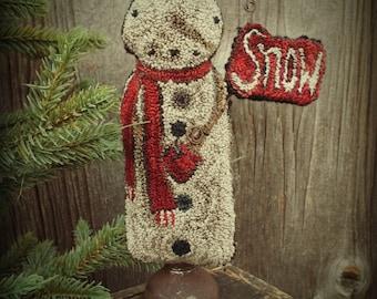 Punch Needle Thread Kit Standing Snowman Valdani Threads Pattern Weavers Cloth