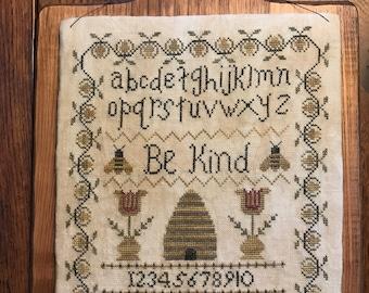 Be Kind Cross Stitch Kit, PNPS Magazine, Linen, Threads, Horn Board, Cotton Fabric, Foam Board