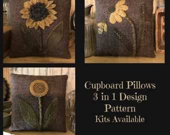 E Pattern AP282 Cupboard Pillows Wool Applique with Wool
