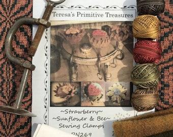 PN269 Kit Strawberry Sunflower Bee Sewing Clamp Valdani Threads Weavers Cloth Wool