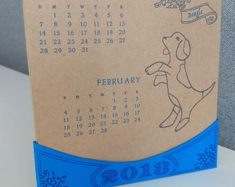 Dogs! 2018 letterpress desk calendar
