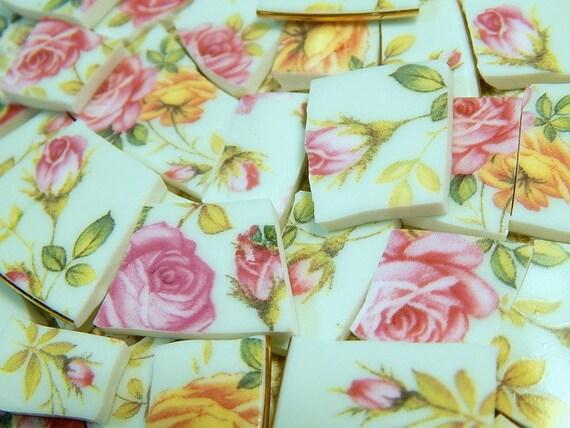 China Mosaic Tiles Pink Roses On Aqua Chintz Broken Plate Etsy