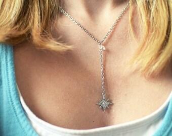 North Star Crystal Y Necklace