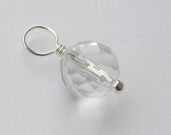 Faceted Rock Crystal Quartz 8mm Sterling Silver Dangle Charm, With or Without Sterling Silver Jump Ring