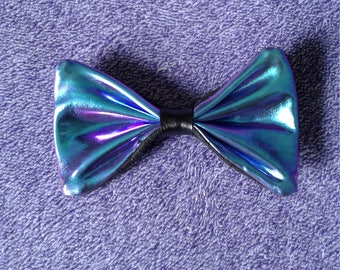 Holographic hairbow oil slick beetle unicorn cyber raver pastel goth hairclip