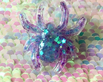 Spider pin brooch pin back button purple glitter stars galaxy space