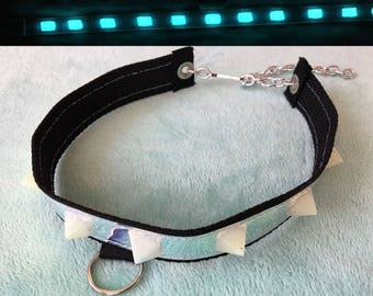 Black holographic glow in the dark BLUE collar choker necklace resin adjustable