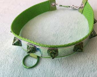 Green holographic color shifting glittery collar choker necklace spike resin