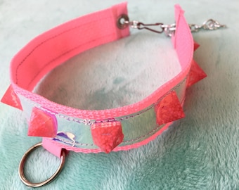 Pink Candy Collar choker necklace resin rave club dance