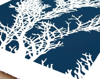 Seaweed Silhoutte - Limited Edition Silkscreen in Ocean Blue