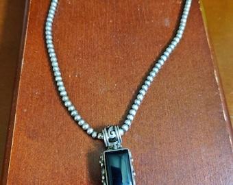 Vintage Ralph Lauren Black Onyx on a beaded chain