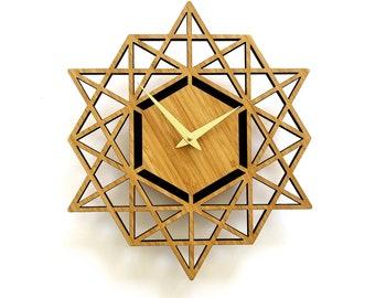 Modern Geometric Wall Clock Two Tone Wood and Gold, Wedding, Anniversary, Housewarming, Birthday Gift