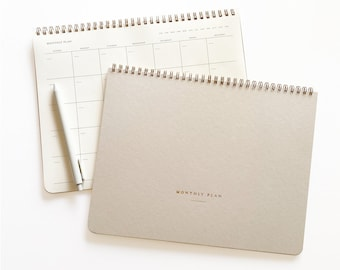 Monthly Planner, 15 Months, Undated Sheets, Calendar Task and To-Do List Planner, 8.5x11 size, Gold Spiral Bound