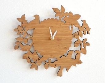 Decorative birds wall clock intricate laser cut elegant wall decor