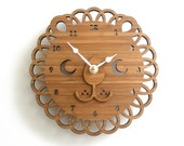 Modern Lion Bamboo Wall Clock, Wooden Clock, Kids Room Decor