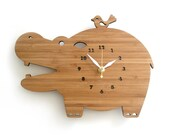 Modern Wooden Wall Clock Happy Hippo