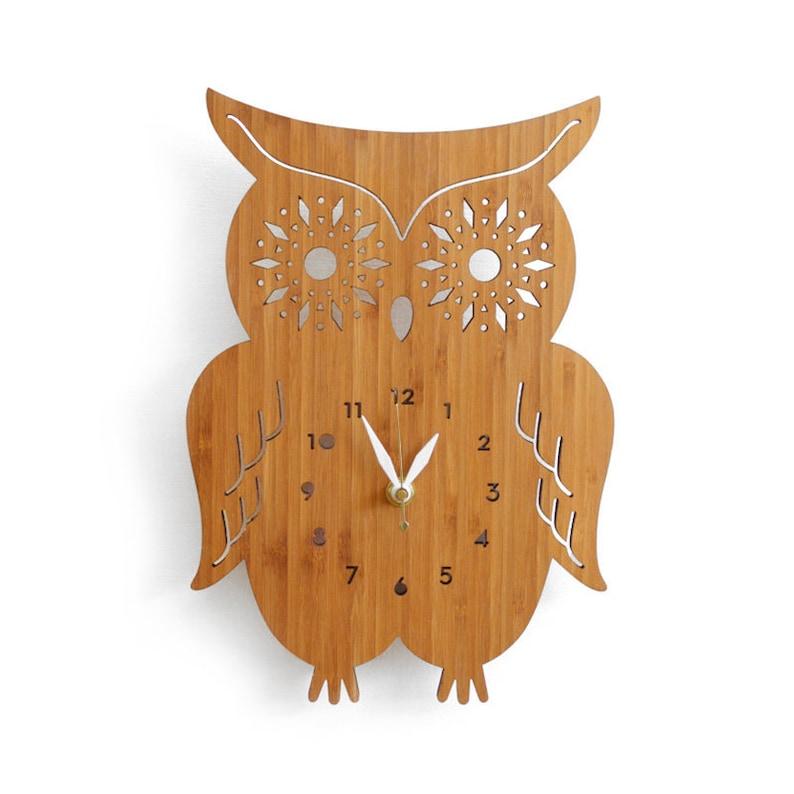 Owl Wall Clock with starburst eyes modern wall clock wall image 0