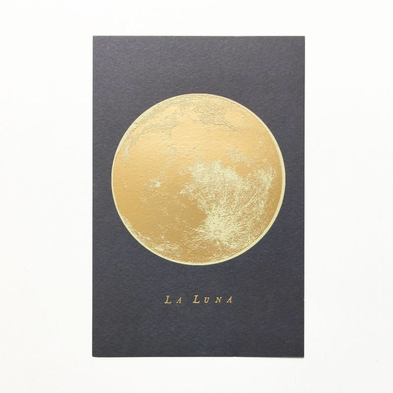 Full moon gold foil print in 4x6 postcard size image 0
