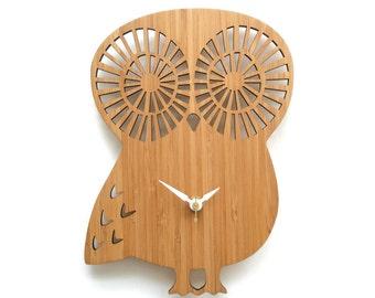 Mid century wall art owl clock in wood