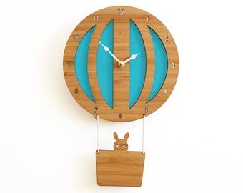 Blue Hot Air Balloon wall clock, Travel Nursery theme, kids nursery decor, wall art, unique gift
