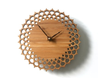 geometric circle wall clock, gift for home, wood decor, lace clock, Silent