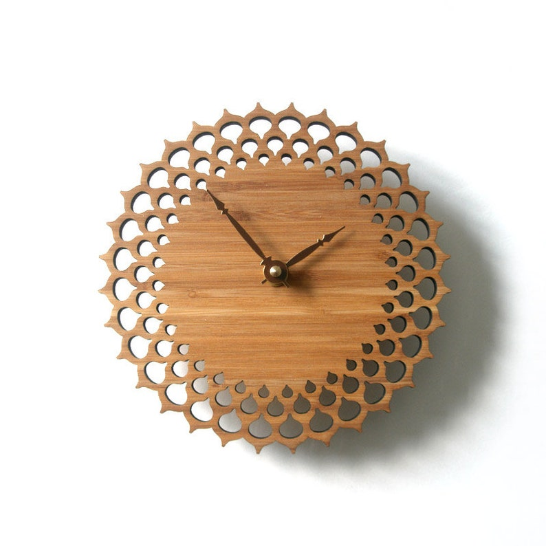 geometric circle wall clock gift for home wood decor lace image 0