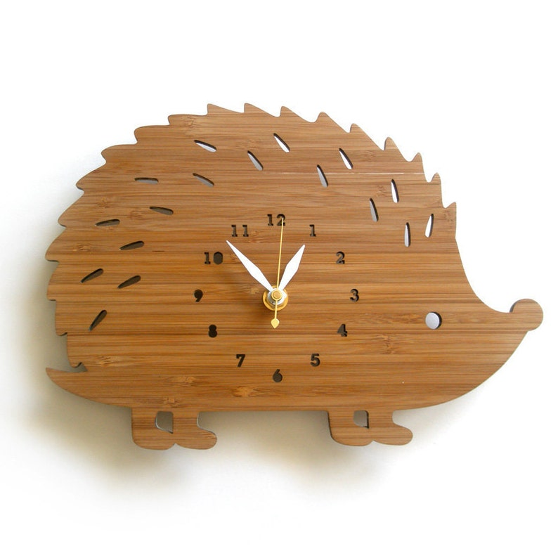 Hedgehog Wall Clock with numbers made in wood unique gifting image 0