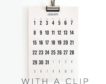 2018 - 2019 Wall Calendar with a Clip,  typographic, simple, large dates