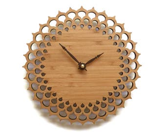 Simple Modern Wooden Wall Clock 8 Inches, Intricate Pattern
