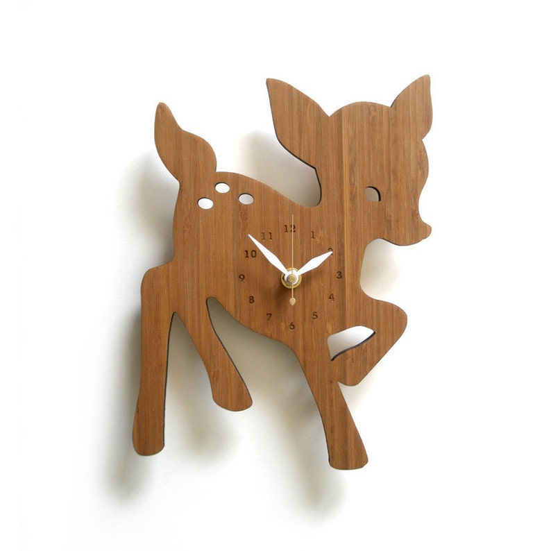 Whimsical Wooden Fawn Wall Clock Perfect for Nursery Kids Room image 0