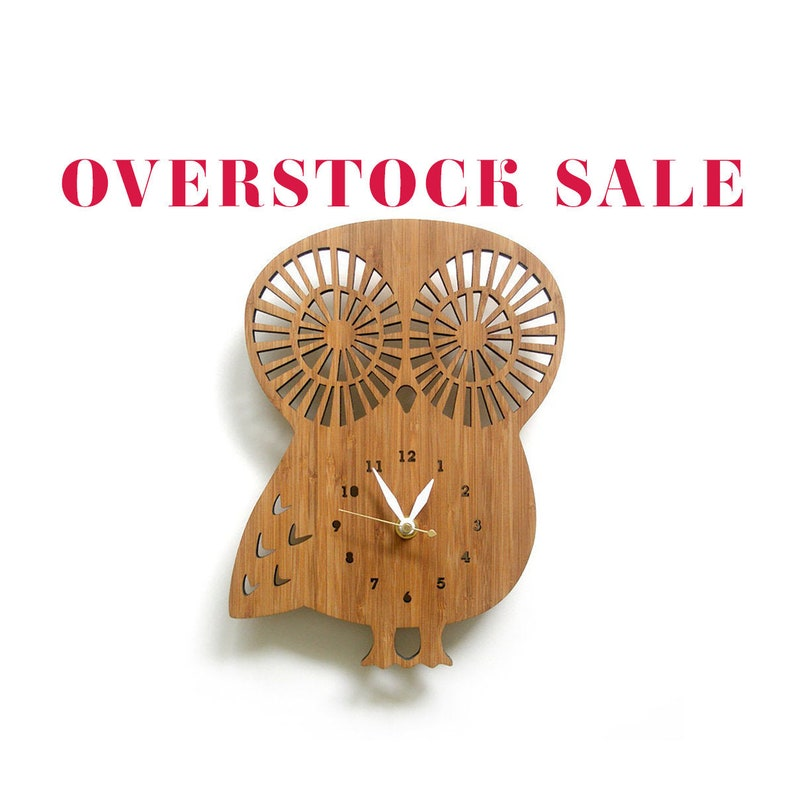 SALE  limited quantity  Wooden Owl clock with numbers image 0