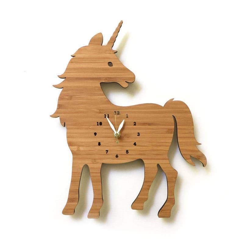 Unicorn Wall Clock with numbers nursery kids room decor image 0