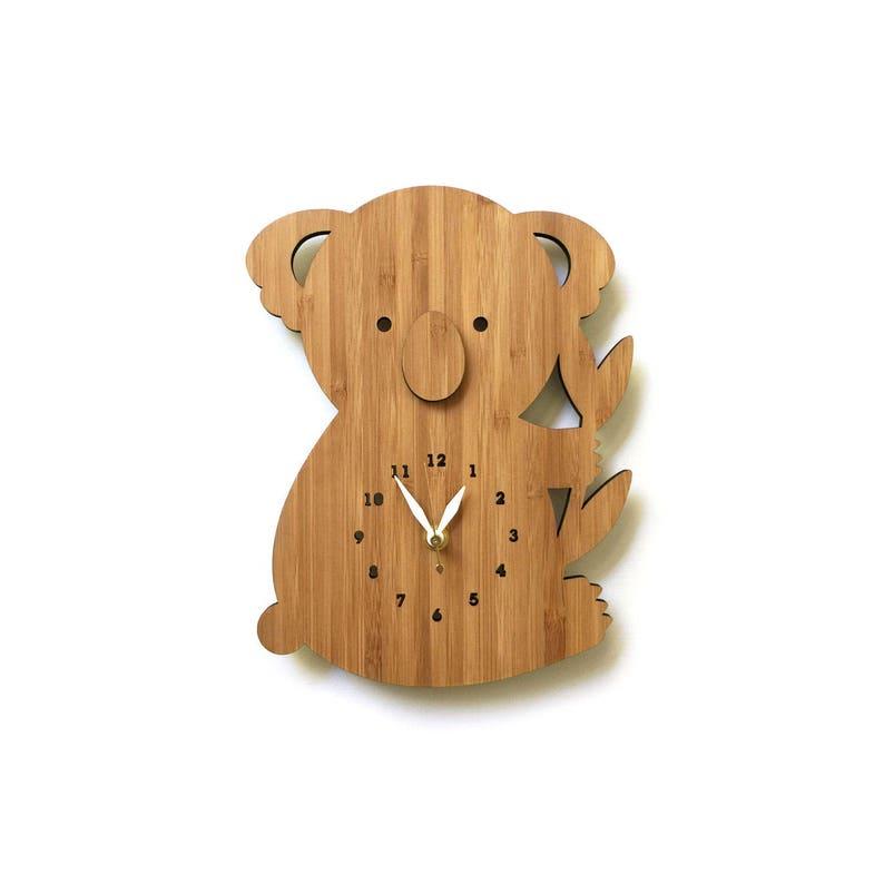 Koala Bear Wall Clock With Numbers Wood Clock for Nursery or image 0