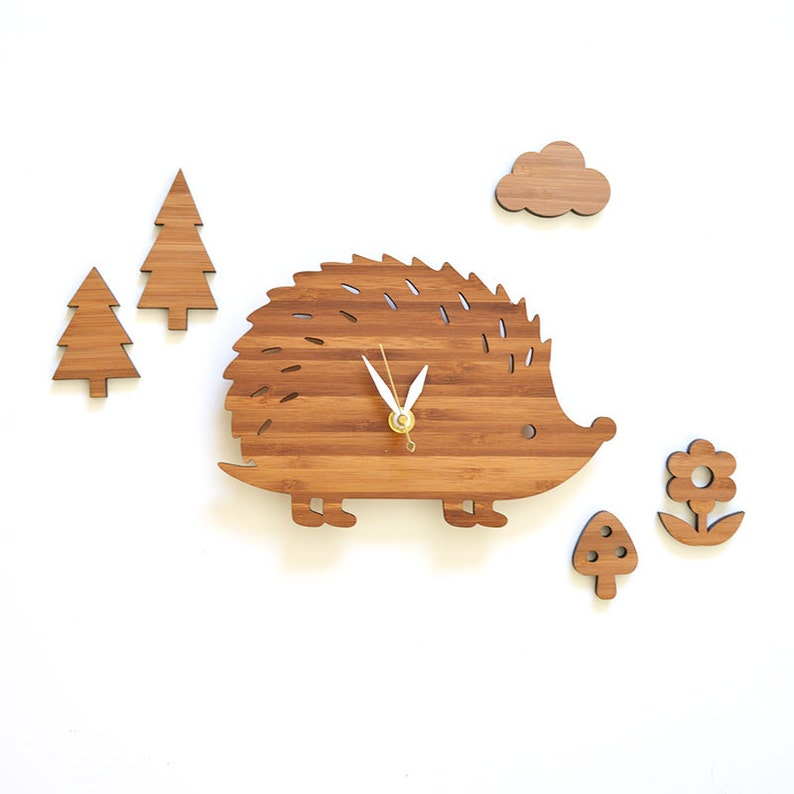 Cute hedgehog wall clock with cloud flower mushroom and trees image 0