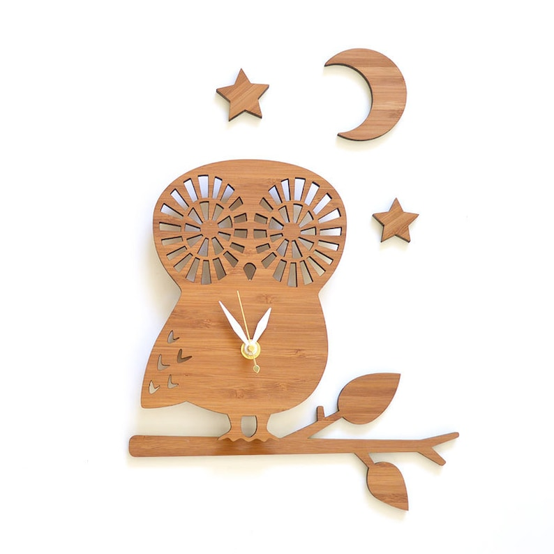 modern owl clock with branch moon and stars set image 0