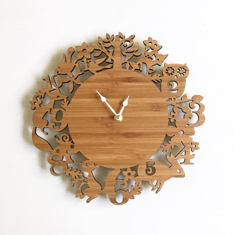 SALE Large forest animals wooden wall clocks  11 inches image 0