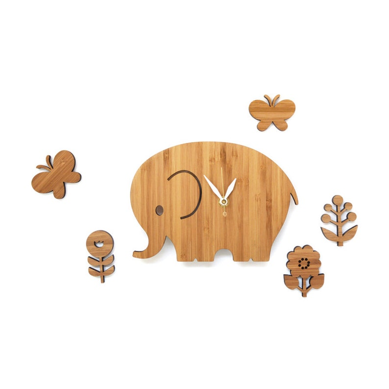 Home decor elephant clock with flowers and butterflies wood image 0