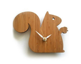 Modern Clock Baby Squirrel Bamboo