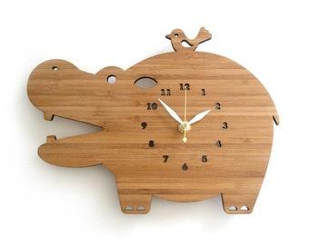Modern Wooden Wall Clock Happy Hippo