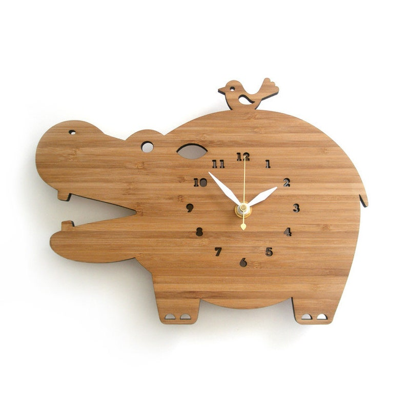 Modern Wooden Wall Clock Happy Hippo image 0