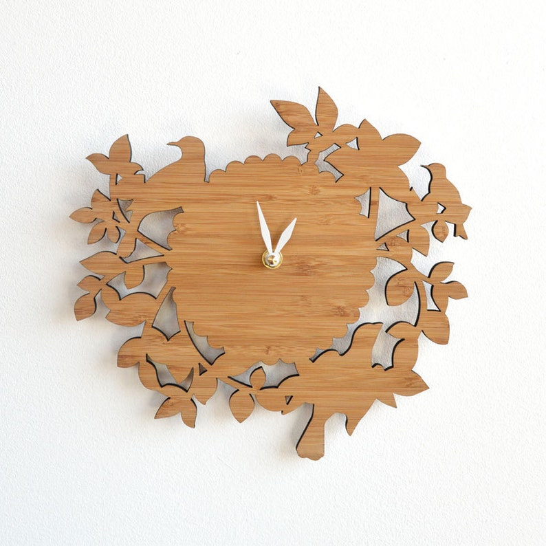Decorative birds wall clock intricate laser cut elegant wall image 0