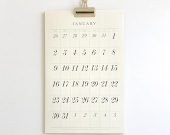 2022 Wall Calendar with a Clip,  typographic, minimal, large dates, italic