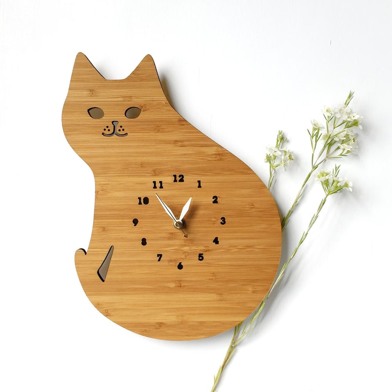 cat wall clock Cat lover gift cute decoration wall decor image 0
