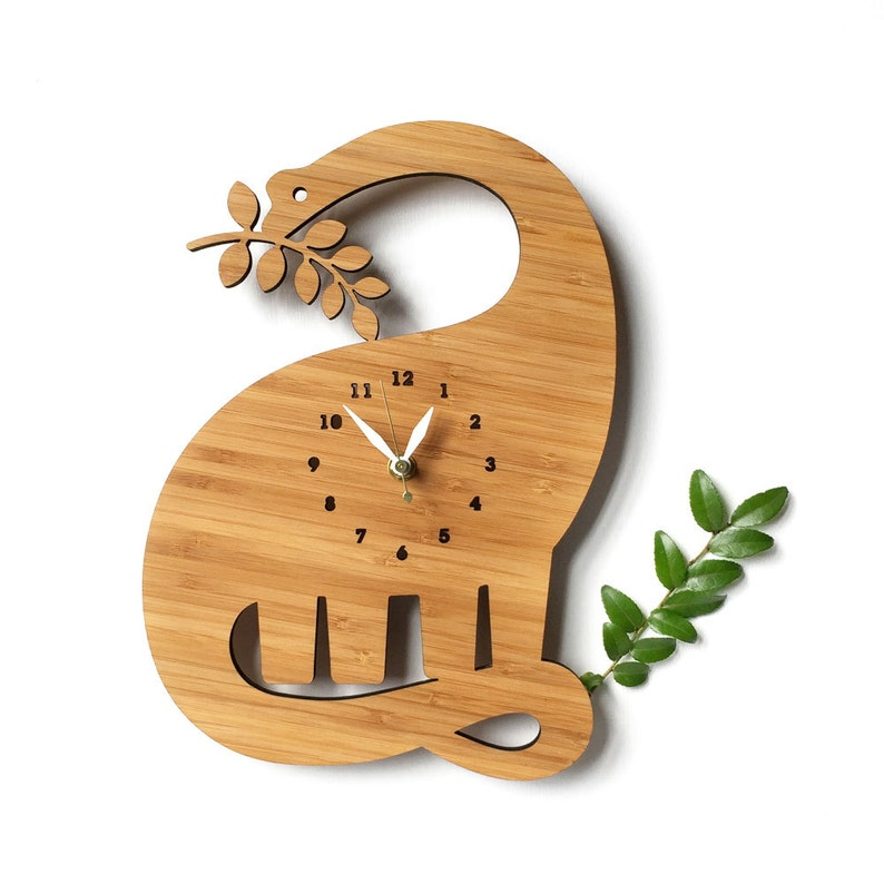 Dinosaur Wall clock with numbers for kids room image 0
