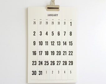 2022 Wall Calendar with a Clip,  typographic, minimal, large dates, Large Numbers