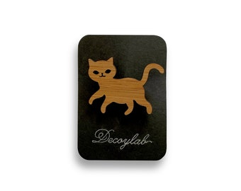 Cat Brooch Bamboo Pin