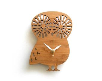 Cute Small Owl Wall Clock Modern heirloom Wood Eco friendly