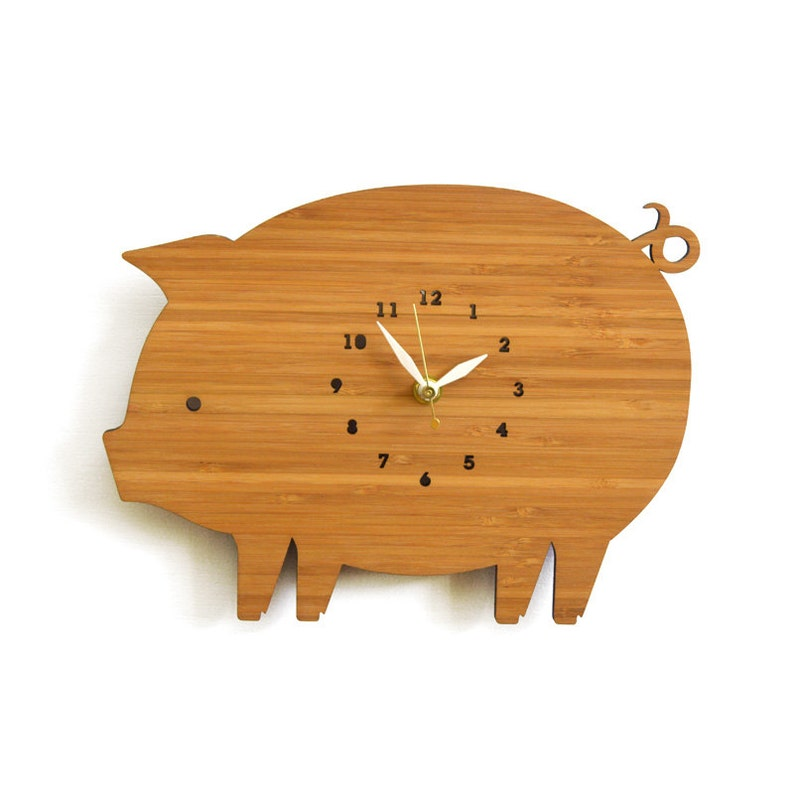 Farm style pig clock with numbers kitchen wall clock image 0
