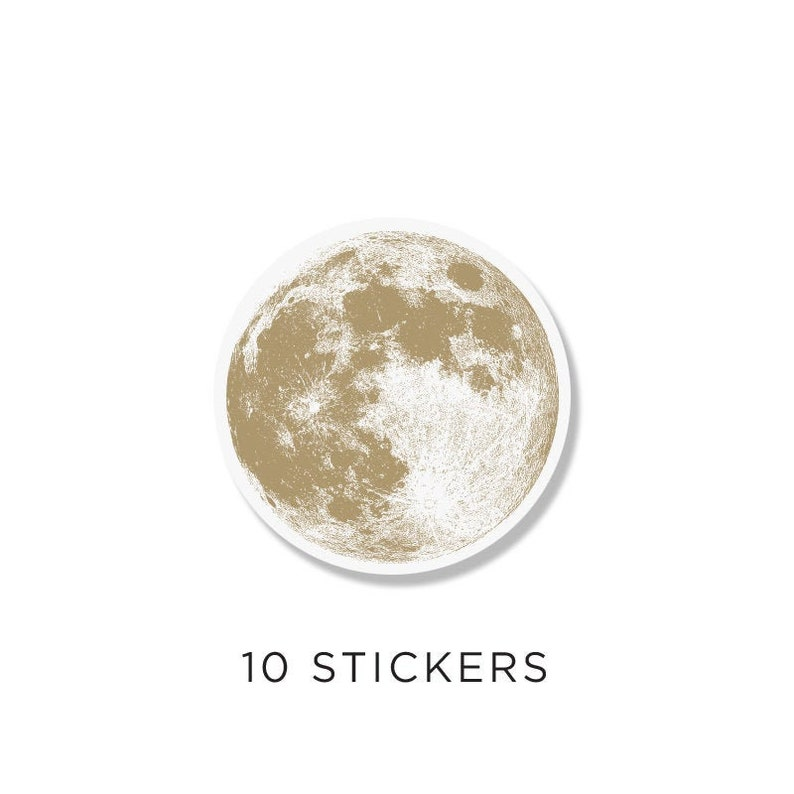 Full Moon Circle Stickers gold moon Pack of 10 For image 0