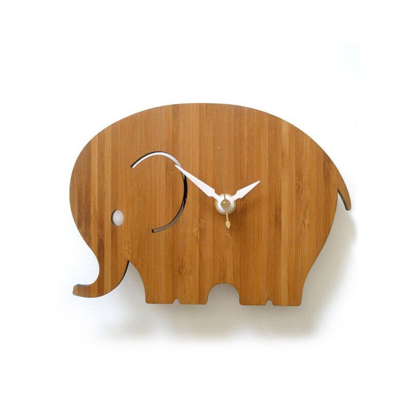 Home Decor Small Elephant Wall Clock Modern Nursery Decor image 0